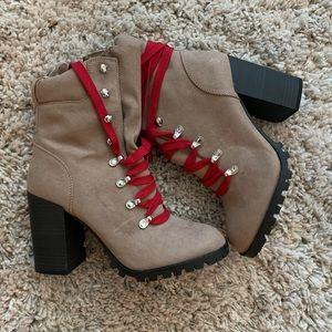 Beige booties!! Hot stepper !!!  😍😍😍